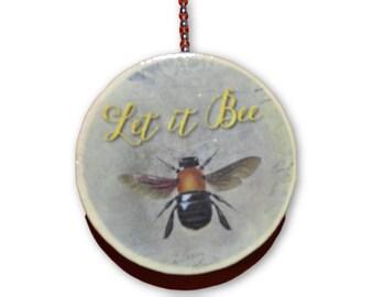 Let It Bee Round Wood Fan / Light Pull