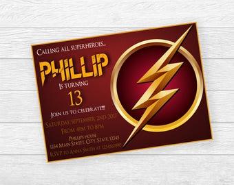 Flash Printed Invitation, Flash , Flash , Heroe Printed Invitation, Superheroes , Superheroe Birthday, , Flash, Boy , Birthday