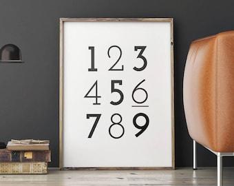 Printable Number Art Poster, Black and White Numbers Print, Typography Number Art Digital Print, Nursery Printable, Instant Download PDF/JPG