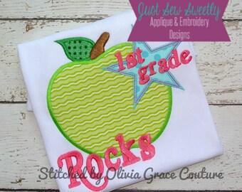 1st Grade Rocks:  Back to School Applique Design - Embroidery Machine Pattern First Grade