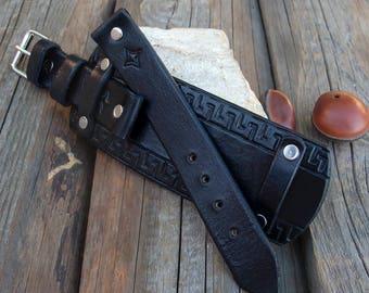 Watch Leather strap, Watch band, Watch cuff strap, Black leather cuff watch strap, Veg tanned leather