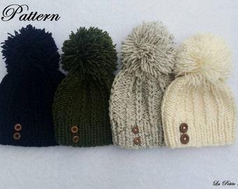 PDF Patron tricot, Knitting Pattern, BONNET , BEANIE, modèle tricot  adulte, winter clothes, handmade knitwear, file