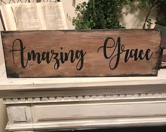 Amazing grace sign / blessed sign /  rustic Country wall decor / farmhouse style sign
