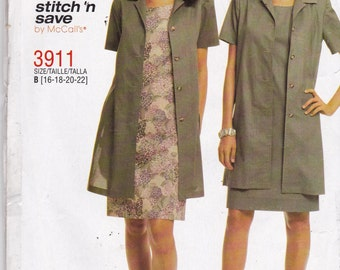 McCalls 3911 Vintage Pattern  Womens Unlined Jacket and Dress Size  16,18, 20, 22 UNCUT