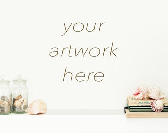Styled Stock Photography | Mock Up for Your Artwork without Frame| Coastal, Beach, Shells, Shabby Chic Theme |  Blank Wall