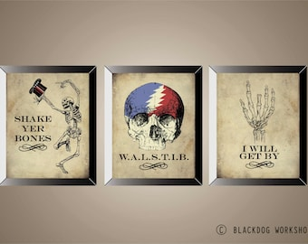 GRATEFUL DEAD Series Of 3 Posters, Prints, Lyric Art, Skeletons, 11 x14