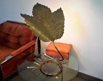 Signed Curtis Jere Leaf Table Lamp Art Deco Style Iconic Designer Fabulous Decorator Vintage Lighting