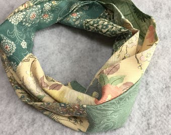 Silk kimono infinity scarf - flowered green gift for her