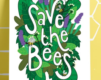 A5 Save the Bees Art Print