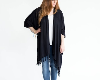 Black Kimono | Womens Clothing, Solid Black w/ Tassels, Comfy Robe, Stylish, Bohemian, Sarong, Lightweight + soft, Spring, Fall, Summer Wear