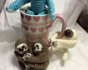 Crocheted sloths