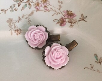 Flower Hair Clips Pins  Milky Lilac Pink Rose Blossoms