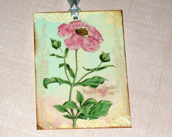 Botanical Gift Tags Altered with Pearls, ATC, ECS