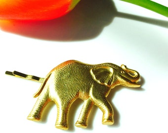 Gold Elephant Hair Pin, Gold Bobby Pin, Gold Barrette, Gold Hair Pin, Wedding Hair, Boho Hair, Festival, Birthday Gift, Tress Temptress