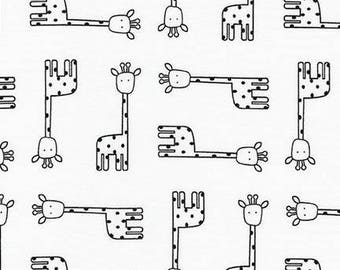 Robert Kaufman Fabric Penned Pals Giraffes in White by Ann Kelle, Choose your cut