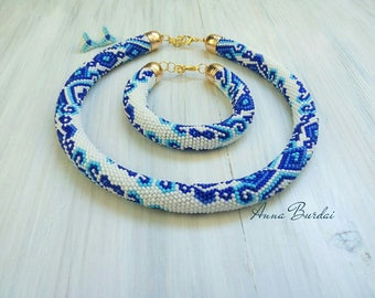 Beaded rope Crochet bead necklace Crochet bead Jewelry set Women gift Seed bead necklace Beadwork necklace Crochet bracelet White blue rope