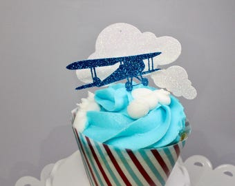 12 ct. Airplane & Cloud Cupcake Toppers - Time Flies Cupcake Toppers - First Birthday Party - Baby Shower - Birthday Party - Airplane Party