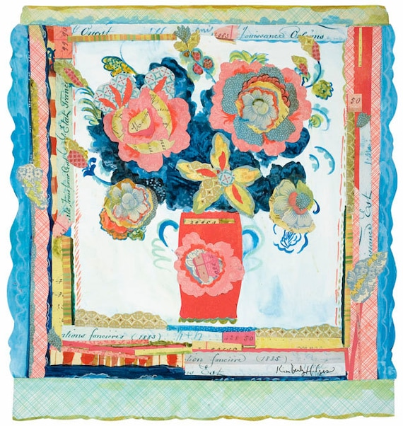 """Peony Collage 29,960 12"""" x 12"""" Archival Print by Kimberly Hodge, peony art, collage art"""