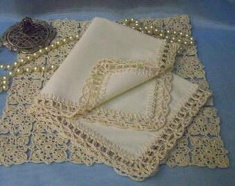 Custom handkerchief, Custom Hanky, Custom Hankie, Personalized, Monogram, Embroidered, Hand Crochet, Lace, Lacy,  Ladies, Ready to ship