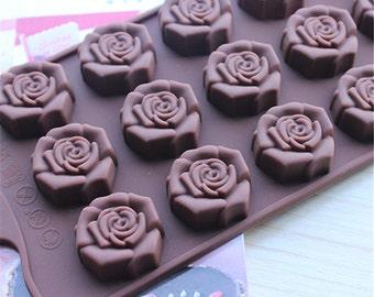 Schokolade Formen 15-Kavitäten Rose Flexible Silikon Mold Polymer Clay Schimmel Kuchen Schimmel Harz Schimmel Biscuit Schimmel Schimmel Cookie Form