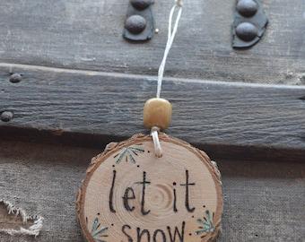 ornament, wood, wood burn, handmade, keepsake, snow, snowflake