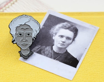 MARIE CURIE Enamel Pin Monochrome Scientist Physics Chemistry Women Science Radioactivity Stocking Filler Graduation Exam Teacher Gift Soft