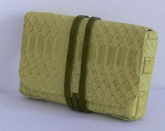 Fancy yellow and khaki cowhide leather tobacco pouch