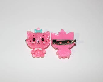 Best friends pink kitty pin/badges