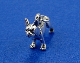 Boston Terrier Charm - Sterling Silver Boston Terrier French Bulldog Charm for Necklace or Bracelet