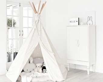 Large Play Teepee - Plain canvas tent and flags only | teepee tent | Canvas Teepee | Play Tent | Play House | Kids Teepee | ECRU, not white