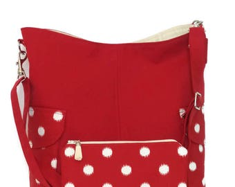 Cross body Tote Bag and matching zipper pouch / Cross body Bag / Shoulder Bag / Tote Bag/ Handbag / Purse / Tote/ Canvas tote Bag / Red