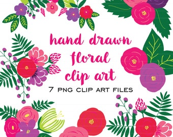Hand Drawn Floral Clip Art (Instant Download) clip art, hand drawn, floral, flowers, floral repeat, preppy