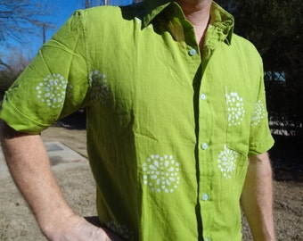 Chartreuse Long or Short Sleeved Men's Hand Block Indian Cotton Button Down Pocket Shirt -  H762