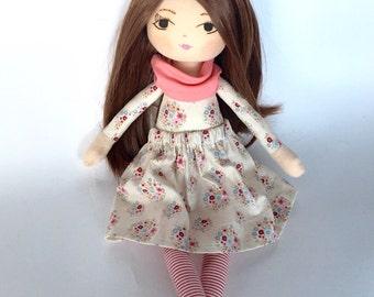 Handmade doll, rag doll, cloth doll, brown hair, gift for little girl, birthday gift, dolls, girl gift