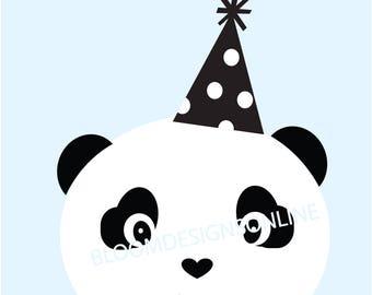 3 Panda Posters in BLUE