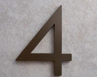 Modern House Number Aluminum Modern Font Number FOUR 4 in Bronze