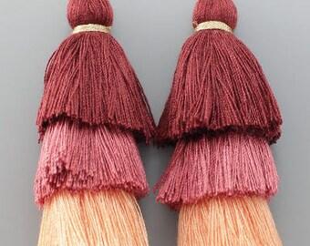 Burgundy Ombre Layered Thread Tassel Earrings