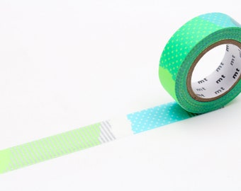 MT washi tape, green patterns, 15 mm