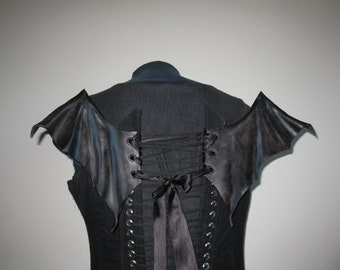 Leather wing for corset-Black Goth Bat