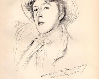 "1900 Victorian STUDIO Art Print Portrait-Sketch of Miss Paget (""Vernon Lee"") by JOHN S SARGENT"