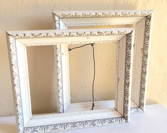Pair of Matching Unique White and Gray Vintage Wood Picture Frames Wall Hanging 6x7