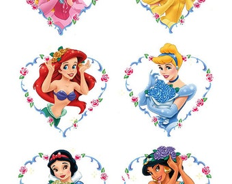 6 Disney Princess Heart cake topper edible wafer paper image ja