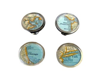 Vintage Map Drawer Pulls 4 New York, Chicago, Boston San Francisco Home Decor House Warming Cabinet Knobs on Sale
