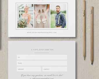 Photography Gift Certificate Template - Gift Card Template for Photographers - Wedding Photographer Branding