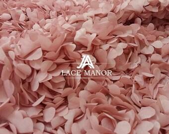 Dust Pink 3D Chiffon Lace Floral Lace Fabric Bridal wedding dress Fabric Fashion Costume Lace 55'' Wide 1 yard S0575