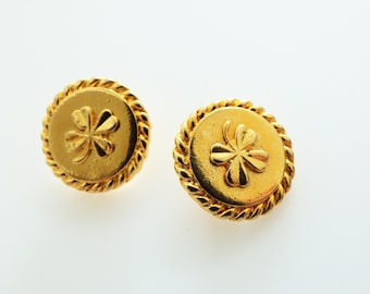 Chanel Vintage Gold Clover Shamrock Stamped Button 15mm  / Price is for one button