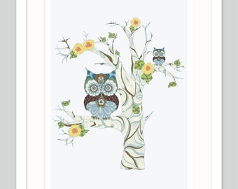 Owl Nursery Art | Unisex Decor | Twin Boys Gift