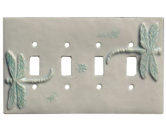 Dragonflies Ceramic Art Quad Toggle Light Switch Cover In White Agate Glaze