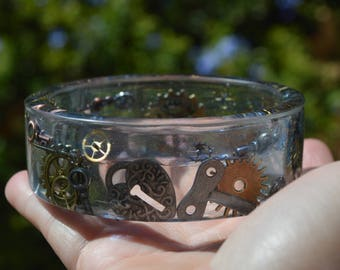 Handmade Blue Swirl Steampunk Resin Bangle Bracelet Small To Medium