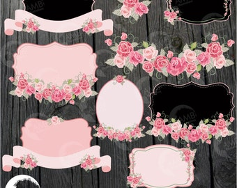 Floral frames and tags clipart, Wedding frames clipart, shabby chic, Roses, labels commercial use, digital clip art, AMB-959